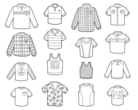 Vector set of shirts, black and white collection of cartoon clothes Ilustrace
