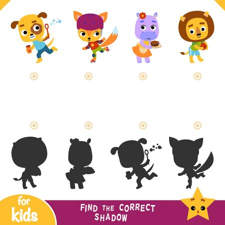 Find the correct shadow, education game for children, Set of cartoon characters -Lion, Dog, Hippo, Fox