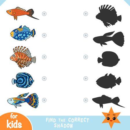 Trouvez la bonne ombre, jeu éducatif pour les enfants, ensemble de poissons de dessin animé