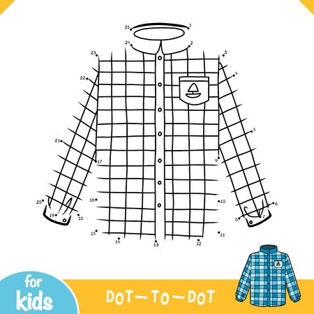 Numbers game, education dot to dot game for children, Men's Scotch plaid shirt