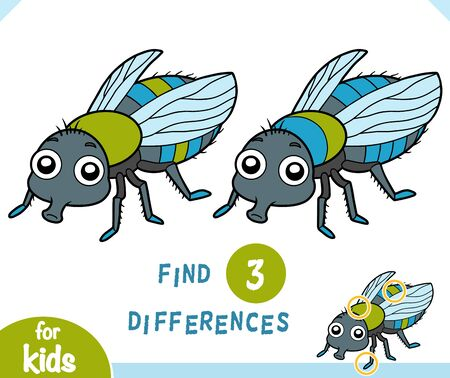 Find differences educational game for children, Fly
