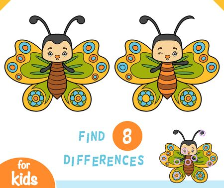 Find differences educational game for children, Butterfly