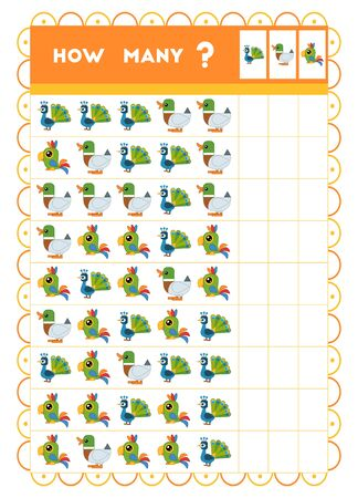 Counting game, educational game for children. Count how many birds in each row and write the result!