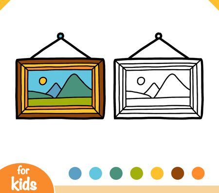 Coloring book for children, Picture with a landscape