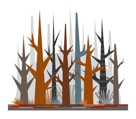 Cartoon illustration for children. Colorful poster about nature. Flat late fall forest, trees without leaves