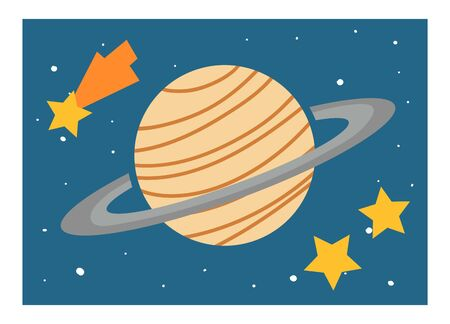 Cartoon vector illustration for children. Educational poster about space. Planet Saturn and stars Illusztráció