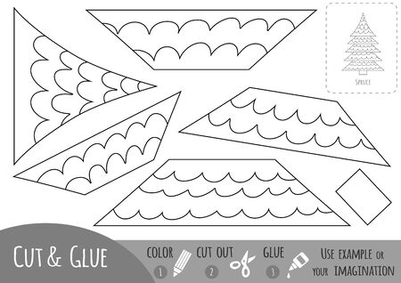 Educational black and white paper game for children, Spruce. Use scissors and glue to create the image.