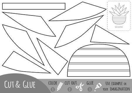 Educational black and white paper game for children, Houseplant, Succulent. Use scissors and glue to create the image.