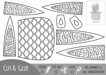 Educational black and white paper game for children, Houseplant, Snake plant. Use scissors and glue to create the image.