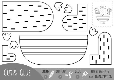 Educational black and white paper game for children, Houseplant, Cactus. Use scissors and glue to create the image.
