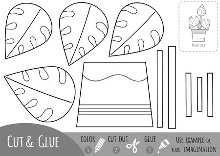 Educational black and white paper game for children, Houseplant, Monstera. Use scissors and glue to create the image.