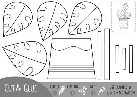 Pädagogisches Schwarz-Weiß-Papierspiel für Kinder, Zimmerpflanze, Monstera. Verwenden Sie Schere und Kleber, um das Bild zu erstellen.