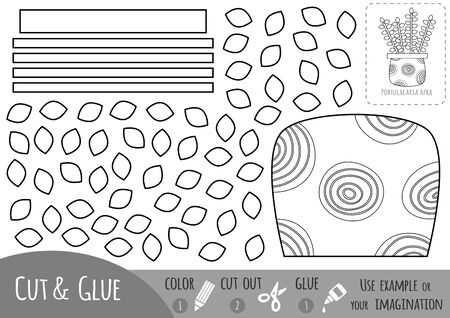 Educational black and white paper game for children, Houseplant, Portulacaria afra. Use scissors and glue to create the image.