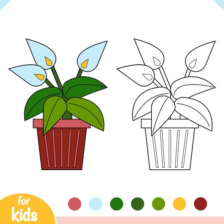 Coloring book for children. Cartoon collection of Houseplants, Peace Lily