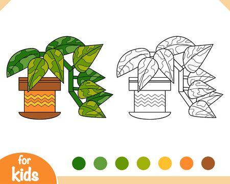 Coloring book for children, Golden pothos
