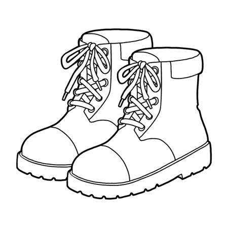 Coloring book for children, cartoon shoe collection. Brown boots  イラスト・ベクター素材