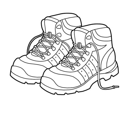 Coloring book for children, cartoon shoe collection. Hiking boots