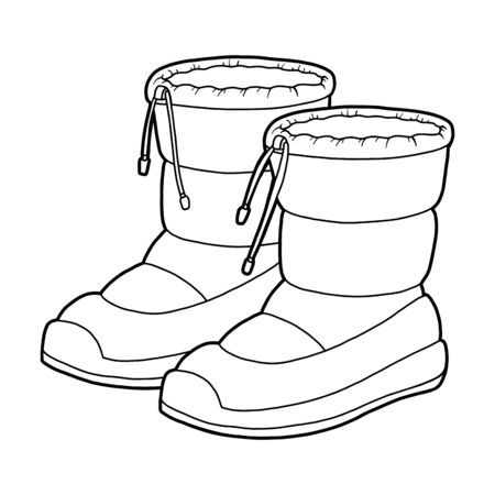 Coloring book for children, cartoon shoe collection. Waterproof snow boots  イラスト・ベクター素材