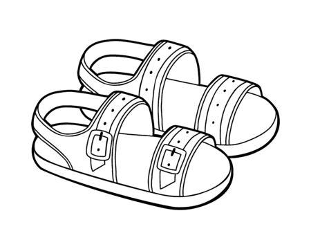 Livre de coloriage pour enfants, collection de chaussures de dessin animé. Sandales homme Vecteurs