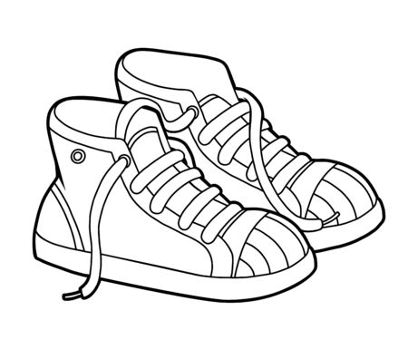 Coloring book for children, cartoon shoe collection. Sneakers Illustration