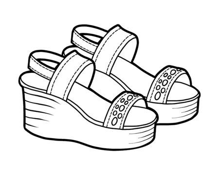 Malbuch für Kinder, Cartoon-Schuhkollektion. Sandalen mit Keilabsatz