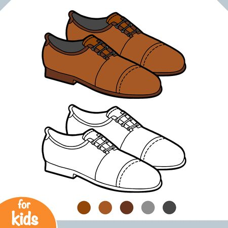Coloring book for children, cartoon shoe collection. Lace-up men shoes