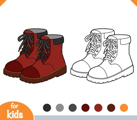 Coloring book for children, cartoon shoe collection. Brown boots Illustration