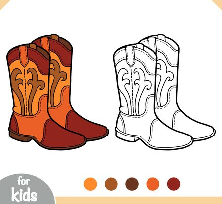 Coloring book for children, cartoon shoe collection. Western boots  イラスト・ベクター素材