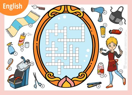 Vector colorful crossword in English, education game for children. Cartoon hairdresser and objects for hair cutting Иллюстрация