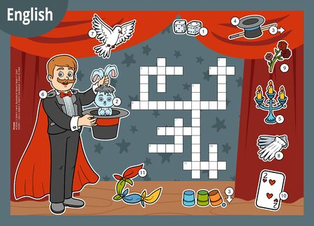 Vector colorful crossword in English, education game for children. Cartoon Illusionist and objects for magic tricks