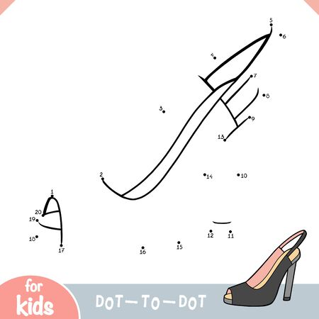 Numbers game, education dot to dot game for children, cartoon women shoes