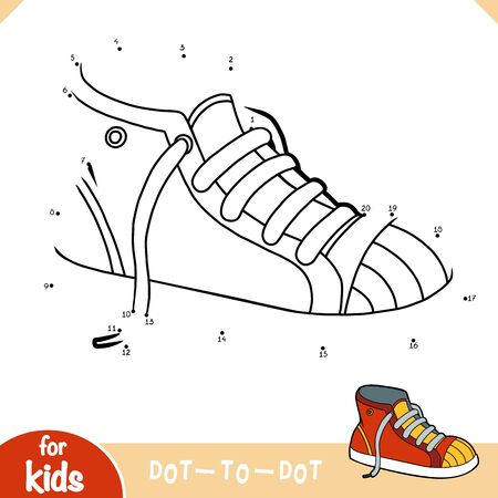 Numbers game, education dot to dot game for children, Sneakers  イラスト・ベクター素材