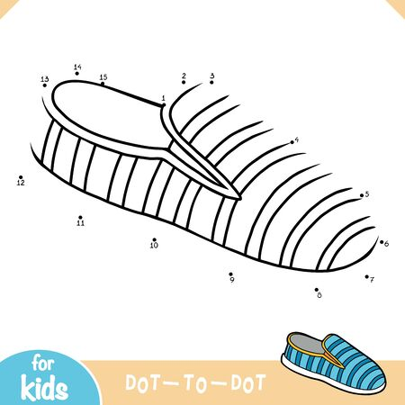 Numbers game, education dot to dot game for children, Slip on shoes