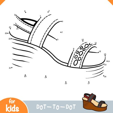 Numbers game, education dot to dot game for children, Wedge-heeled sandals