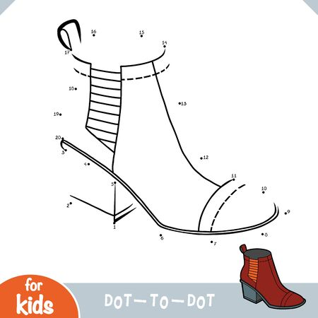 Numbers game, education dot to dot game for children, Chelsea boots