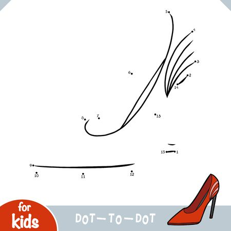 Numbers game, education dot to dot game for children, cartoon women shoe
