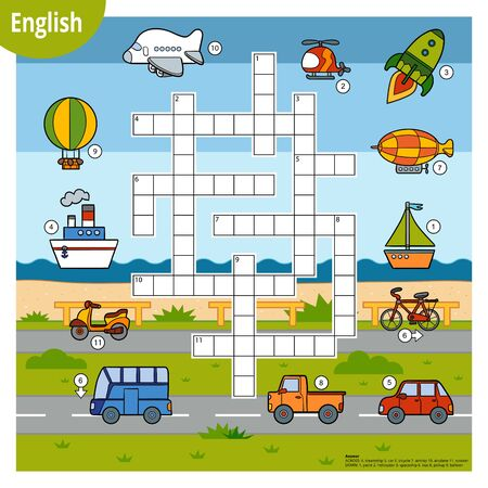 Vector colorful crossword in English, education game for children. Cartoon  set of transport