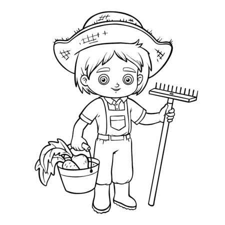 Livre de coloriage pour des enfants, garçon d'agriculteur avec le râteau et le seau