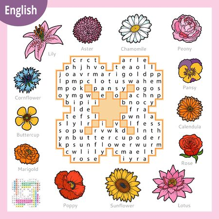 Word search puzzle. Cartoon set of flowers, poppy, sunflower, lily, rose, peony. Education game for children. Vector colour worksheet for learning English