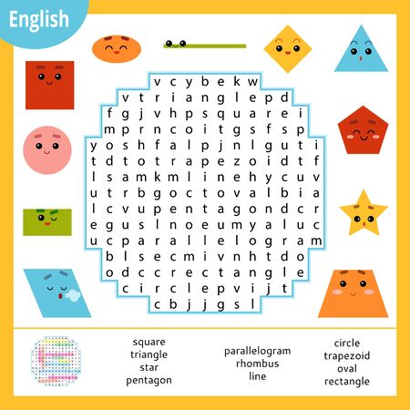 Word search puzzle. Cartoon set of geometric shapes, circle, square, rectangle, triangle. Education game for children. Vector colour worksheet for learning English
