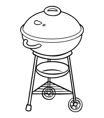 Coloring book for children. Barbecue Kettle Grill. Black and white cartoon kitchen appliances