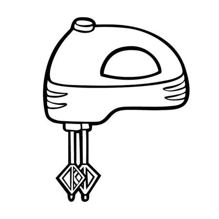 Malbuch für Kinder. Handmixer. Schwarz-Weiß-Cartoon-Küchengeräte.