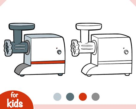 Coloring book for children. Electric Meat Grinder. Black and white cartoon kitchen appliances.