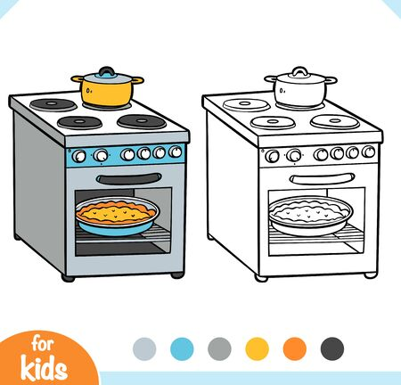 Coloring book for children. Electric stove. Black and white cartoon kitchen appliances. Vector Illustratie