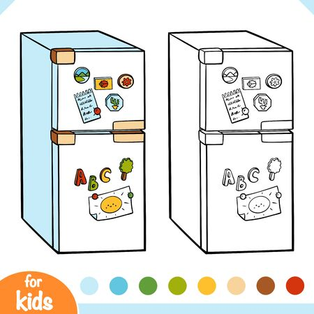 Coloring book for children. Refrigerator. Black and white cartoon kitchen appliances.