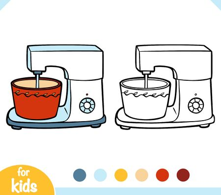 Coloring book for children. Stand mixer. Black and white cartoon kitchen appliances. Vectores