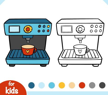 Coloring book for children. Espresso Coffee Machine. Black and white cartoon kitchen appliances