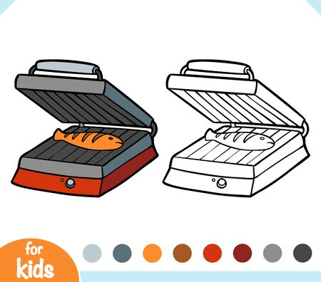 Coloring book for children. Electric Contact Grill. Black and white cartoon kitchen appliances