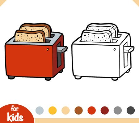 Coloring book for children. Two Slice Toaster. Black and white cartoon kitchen appliances