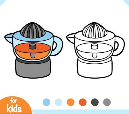 Coloring book for children. Electric Citrus Juicer. Black and white cartoon kitchen appliances Illustration